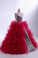 bilder mädchen heiße kleider großhandel-Ballkleid abgestuftes Organza-Rock Custom Made 2016 Dunkelrot Mädchens Pageant Kleider ein Schulter-Fußboden-Länge Hot Verkaufs-Grundbilder