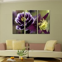 Wholesale Orchid Flower Oil Painting - 3 Picture Combination Canvas Print Wall Art Painting For Home Wall Decor Orchid Flowers The Picture For Living Room Decoration