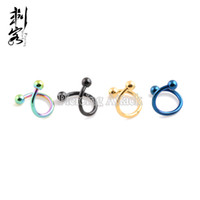 Wholesale Body Jewelry Titanium Piercing Mixed - Free Shipping 16 Gauge Titanium Anodized 316L Surgical Steel Spiral Twister With Spike Mixed Colors Body Jewelry 30 pcs per lot