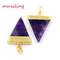 Wholesale pyramid jewelry - Pendants Jewelry Charms Natural Gem Stone Amethyst Aventurine Opal etc Triangle Pyramid Slice Accessories European Amulet Jewelry
