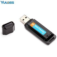 All'ingrosso-Yulass Audio Voice Recorder Pen USB Flash Drive TF card Nero Mini U disc Keychain Digital Voice Recorder con MP3 / WMA / WAV