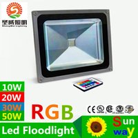 Wholesale Outdoor Led Lights Color Control - Waterproof Led Flood Lights RGB Led Floodlights 10W 20W 30W Led Landscape Lighting Color Changing Led Outdoor Light 85-265V + Remote Control