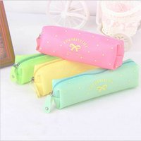 Wholesale Bow Pencils Cases - Wholesale-Cute Candy Color Bow Jelly Silicone Waterproof Pencil Case Stationery Storage Organizer Bag School Office Supply Escolar