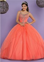 Wholesale Tulle Ballgown Dress - Coral Quinceanera Dresses 2017 with Free Bolero Beautiful Sweet 15 Dress Lace Up Back & Scoop Neck Shiny Crystals Rhinestones Ballgown Prom