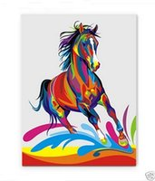 Wholesale Oil Painting Colours - Bright-coloured horse, Pure Hand Painted Wall Decor Art Oil Painting On High Quality Canvas.customized size accepted Free Shipping moore2012