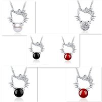 925 Sterling Silver Bijoux Pendentif Bijoux Colliers Mignon Bonjour Kitty Chat Style Vintage Charmes Pendentif KT Perle Agate Colliers