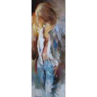 pintura al óleo retrato de las niñas al por mayor-Retrato artístico mujer Chica de Willem Haenraets Pintura al óleo moderno Alta calidad Pintado a mano