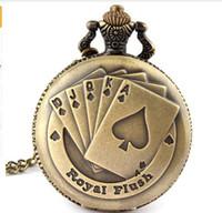 Wholesale Poker Clock - Flush Poker Pattern Necklace Watch Vintage Style Bronze Pendant Chain Clock Quartz Pocket Watch Free Shipping Xmas Gift P80