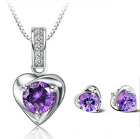 Wholesale purple cubic zirconia necklace - 925 Sterling Silver Jewelry Love Charm Floating Locket Earrings Necklaces Set White Purple Austrian Crystal Pendant Necklace Earring