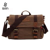Wholesale Briefcase School - Vintage Mens Bags School Satchel Men Messenger Bag Casual Canvas Pattern Brand Denim Laptop Briefcase Versatile Business Male