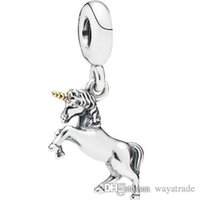 Wholesale Animal Charm Beads - 20 New! Unicorn Pendant Charm 925Sterling Silver European Charms Beads Compatible With Snake Chain Bracelets DIY Jewelry New20
