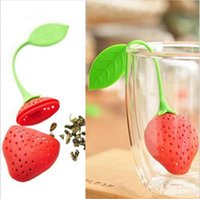 Wholesale Coffee Tea Wholesale - BornIsKing 1Pc lovely Reuseable Foof safe Silicone Red Strawberry Shape Tea Leaf Bag Holder Tea Coffee Punch Filter Tea Infuser c165