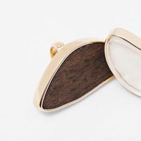 Wholesale Wood Inlay Rings - Wood True Stone Inlay Irregular Fashion Alloy Ring Luxury Polished Edge 18K Platin OEM ODM Wholesale