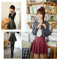 Wholesale Short Red Leather Skirt - Wholesale-Women Girl Faux Leather High Waist Skater Flared Pleated Short Mini Skirt