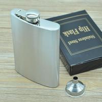 cajas de matraz al por mayor-Boom Fashion 8oz Acero Inoxidable Pocket Hip Flask Retro Whishkey Frask Tapón de rosca de licor Incluye Bonus Funnel y Caja de regalo negra