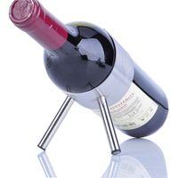 metal şarap şişesi tutacakları toptan satış-Kırmızı Şarap Rafı Paslanmaz Çelik Çerçeve Yaratıcı Metal Şaraplar Şişe Tutucu Moda Bar Aracı Modern Ev Dekor 13gc F R
