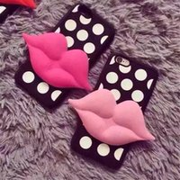 Moda Sexy 3D Red Lip Design Cell Phone Case Silicone Dotted Seductive Mouth Cell Phone Cover para Iphone5 Iphone6 ​​Iphone6plus