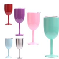 Wholesale Goblet Crystal Glass - 10oz Stainless Steel Wine Glass 9 Colors Double Wall Insulated Metal Goblet With Lid Rambler Colster Tumbler Red Wine Mugs