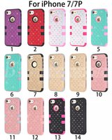 Wholesale Diamond Bumper Iphone Case - Defender Hard Back Phone Case For iPhone 6 6S 7 Plus Slim Luxury Bling Diamond Hybrid PC Soft Bumper Silicone Waterproof Shockproof Cover