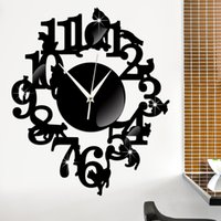 Plastic carved post - mirror surface wall stickers Mute wall clock Creative black cute cat Home Decor DIY Carved bedroom Removable Decorate sticker