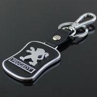 Wholesale Peugeot Leather - 5pcs lot Top Fashion Car Logo keychain For Peugeot Metal Leather Keyring Key Chain ring Llaveros Chaveiro Car Emblem key holder