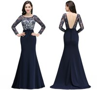 Wholesale sexy mothers dresses resale online - Dark Navy Sexy Backless Formal Mother s Dresses Sheer Long Sleeves Lace Mermaid Mother of the Bride Gowns With Corset Back Cheap CPS729