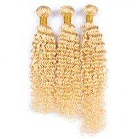 lockiges menschliches haar 613 groihandel-Blondes tiefes Wellen-Menschenhaar bündelt 8A 613 malaysisches Jungfrau-unverarbeitetes Haar 3pcs / lot tiefe Welle gelocktes blondes Haar-Einschlagfaden