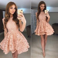 Wholesale Dress Ruffle Hem - 2017 Vintage Lace Short Homecoming Dress Blush Jewel Neck Sleeveless Ruffles Asymmetrical Hem Formal Party Gowns Custom Made