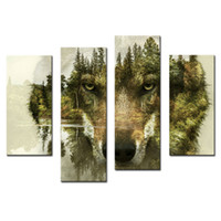 Wholesale Pine Tree Wall Decor - 4 Pieces Wolf Canvas Paintings Printing Wall Art Picture for Home Decor Wolf Pine Trees Forest Animal Print On Canvas with Wooden Framed