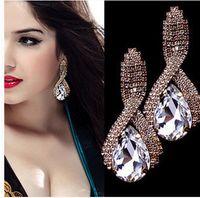 Wholesale Red Earrings For Prom - Fashion Europe Jewelry Earring For Women Sparkly Crystal Rain Stud Earring Ladies Swing Earrings Luxury Evening Prom Party Earrings
