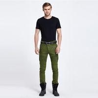 Wholesale Mens Trouser Pocket Jeans - Biker Jeans Punk Style Cargo Pocket male Jeans Skinny Men trousers Brand Mens Designer Clothes Zipper Denim Pants Army Green black