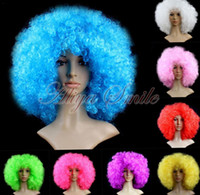 robe de noel de noël achat en gros de-Discothèques Halloween Disco Clown Curly Afro Cirque Fancy Dress Couleur des cheveux Set Of Cosplay Clown Perruque drôle Props Xmas Party