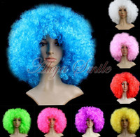 Wholesale Cosplay Dress Wig - Halloween Disco Clown Curly Afro Circus Fancy Dress Hair Nightclubs Color Set Of Clown Wig Funny Props Xmas Party Cosplay