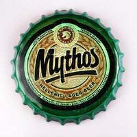 yuvarlak kalay levhaları toptan satış-Mythos Hellenic Lager Bira Yuvarlak Şişe Kapağı bağbozumu Tabela Bar pub ev Duvar Dekor Metal sanat Poster
