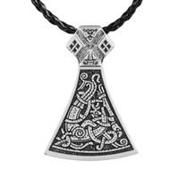Wholesale Large Gold Silver Necklace - New Punk Norse Vikings Legendary Mammen Axe Pendant Mammen Style Large Axe Sekira Viking Nordic Talisman Pendant VIKING Mammen