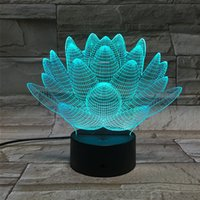 Wholesale Lotus Table Lamp - Model Visual Abstract Blooming Lotus From 3D Night Light Optical Illusion 7 Color Changing Night Light Touch Switch LED Table Lamp