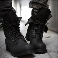 Wholesale fashionable rubber boots - Free shipping ! Autumn Winter Hot Retro Combat boots England-style fashionable Men's short Black shoes High Top military boots