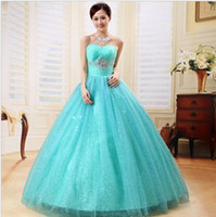 Wholesale Sweet Princess Strapless Embroidery - New Fashion Ball Gowns Sweetheart Crystals Details Red   Blue Soft Tulle Princess Quinceanera Dresses for Sweet 16 Years