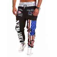 Wholesale Star Trousers Pants - Wholesale-New arrival Joggers Printed New York five star striped USA flag pattern pants men hip hop trousers sweatpants Free shipping