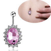 Wholesale Rhinestone oval navel rings belly button rings body piercing jewelry