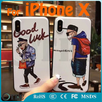 Wholesale Iphone Case Characters - For iPhone X and 8 8 Plus 7 7 Plus 6S 6S Plus 5S TPU Soft Case Cartoon Character Hip-hop Boy and Girl