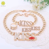 Wholesale Gold Plated Red Lip Necklace - 2016 Fashion Choker Pendants Necklace For Women Cute Red Kiss Lips Gold Plated Necklace Sets Fashion Jewelry Sets
