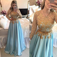 Wholesale formal pink shirt design - 2018 New Design Prom Evening Dresses Gold Lace Appliques Long Sleeves Satin Ruched Formal Party Gowns Custom Made