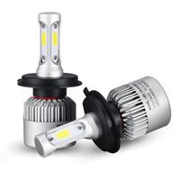 kiriş beyazı toptan satış-2 Adet / çift Araba LED Lamba H4 H7 H1 H3 9006 Oto Far 72 W 8000LM Yüksek Düşük Işın Ampul H8 H11 Sis Işık
