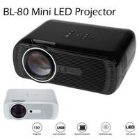 ingrosso videogiochi gratis tv-BL-80 Mini Proiettore LED portatile 1000 Lumens TFT LCD Full HD AV USB SD VGA HDMI Per Videogiochi TV Home Theater Proiettore Beamer DHL libero