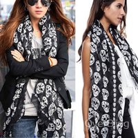 Wholesale Skeleton Big Scarf - 2014 New Fashion Womens Scarf With Big Skull Head Skeleton Cotton Soft Shawl Wrap Long Scarf