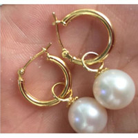Wholesale Australia South Sea Pearls - 9-10mm perfect white Australia south sea pearl dangle earring 14K yellow gold