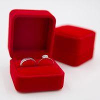 Wholesale Velvet Ring Jewelry Box - Luxurious Velvet Round Corner Red Ring Box 6cm*5.6cm*4.5cm Jewelry Boxes Wedding Ring Box JB0041