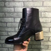 Wholesale Rhinestone Caps For Women - Winter Shoes For Women Hot Sale Chunky Heel Shoes With Pearls Spring Autumn Shoes Black Gold Luxurious Brand Boots With Zip Fastener ZIPPER