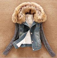 Wholesale U S Jacket - Wholesale- U Winter Knit Sleeve Spliced Faux Fur Collar Fleece Denim Jean Jacket Warm Coat